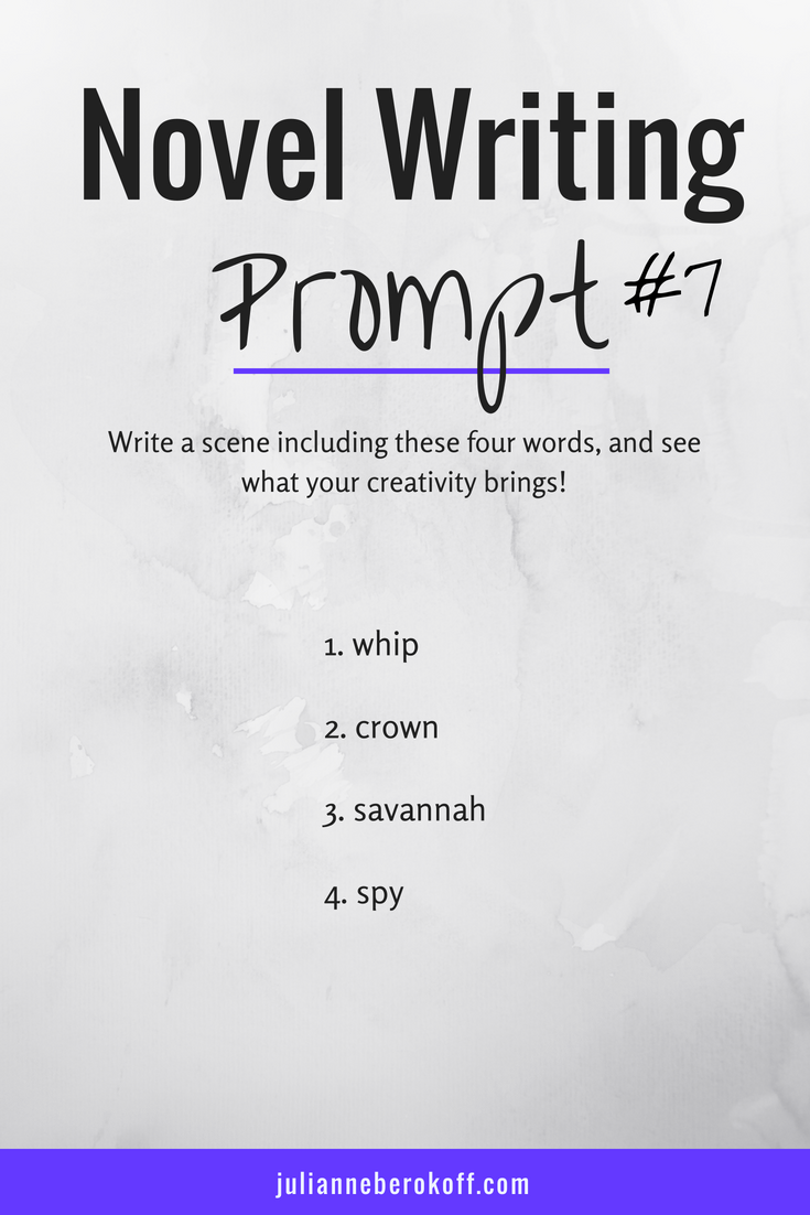 Novel Writing Prompt # 7 - This writing exercise is helpful for general creative writing inspiration, fiction writing practice, and for developing vibrant book ideas - From JulianneBerokoff